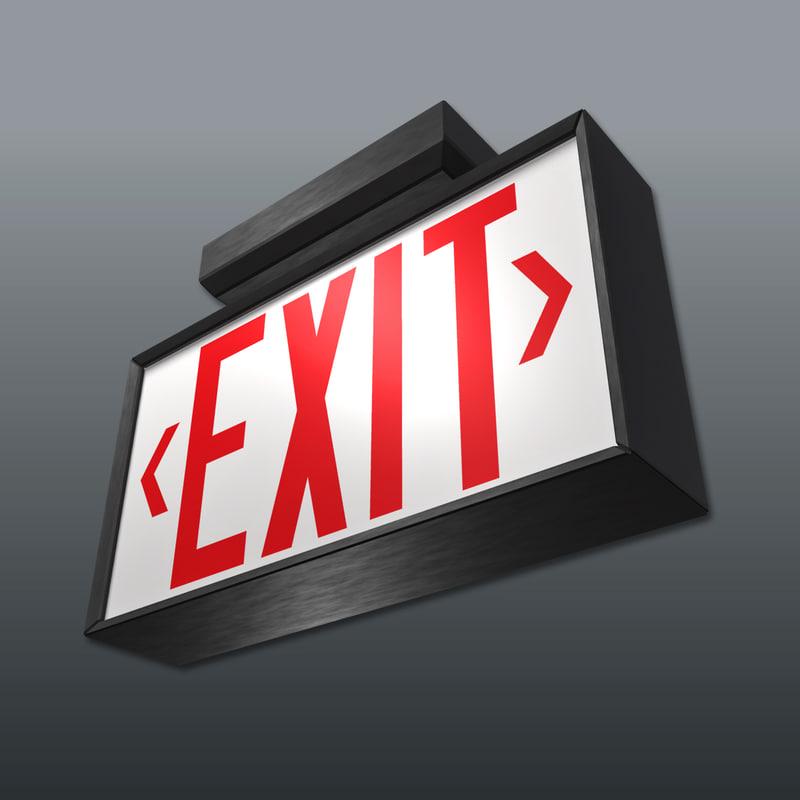emergency exit sign 3d model