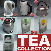 3d model set kettle tea