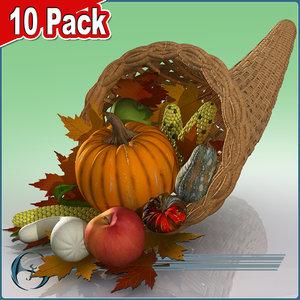 3d thanksgiving cornucopia fruits vegetables model