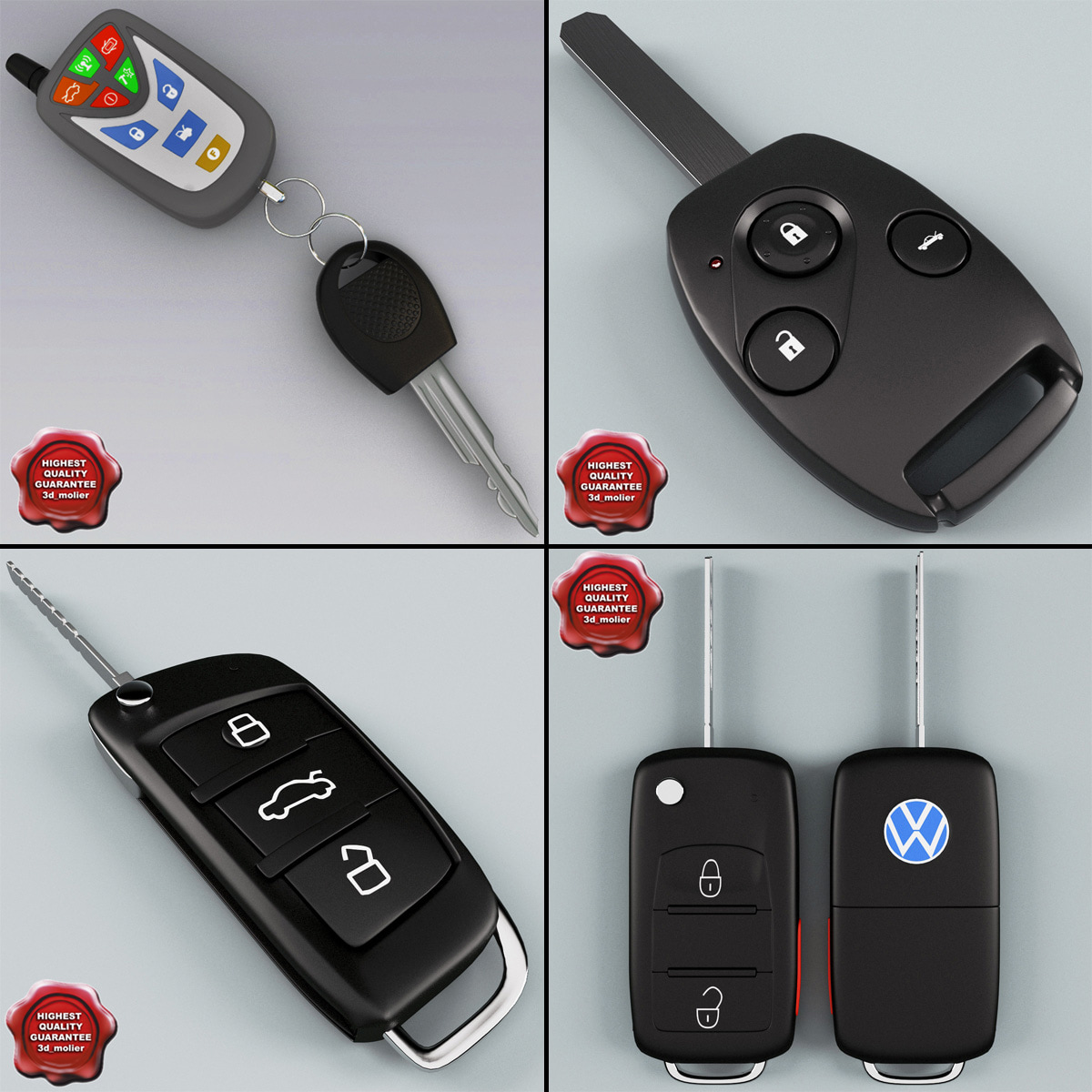 remote key fobs 3d model