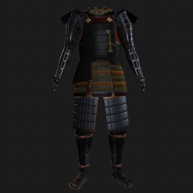 3d model ornate samurai armor