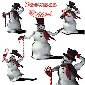 3d happy holidays snowman
