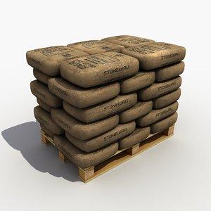 3d model pallet cement bag