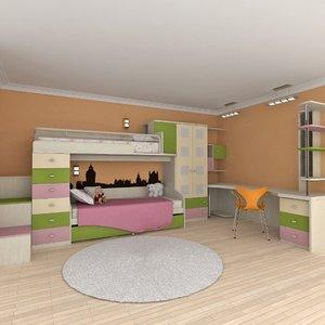 3d model child bedroom furniture