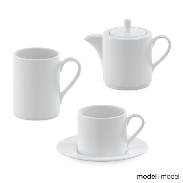 3d white ceramic tea set model