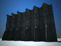 evil fantasy walls 3d model