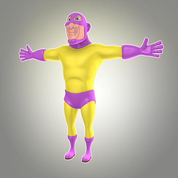 cool cartoon superhero 3d model