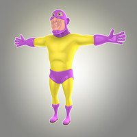 cool cartoon superhero 3d model