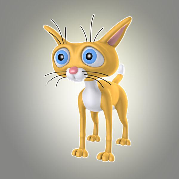 simple cartoon cat 3d model