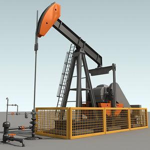 oil pump jack 3d c4d