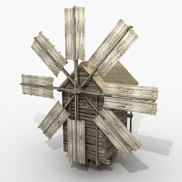 3d mill wood model