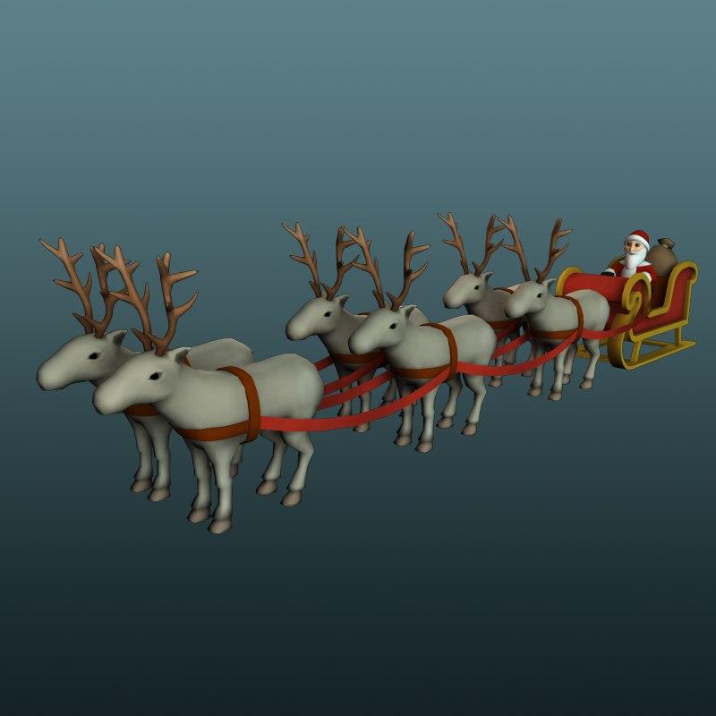 santa reindeers 3d x