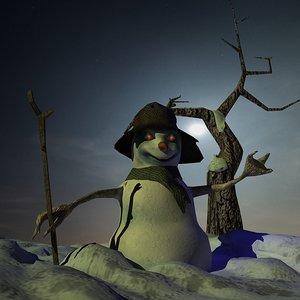 snowman lights 3d model
