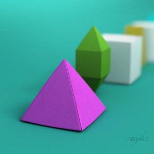 3d folded paper primitives model