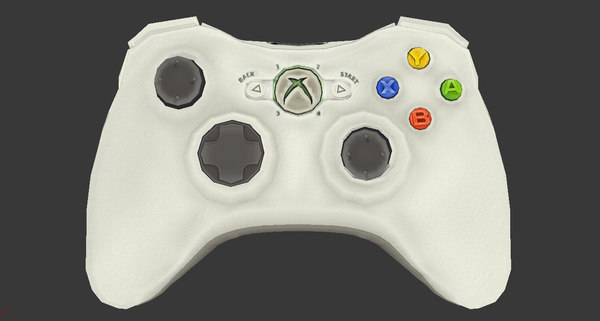 3d model of xbox 360 controller polys