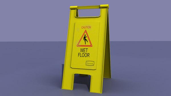 3d wet floor sign