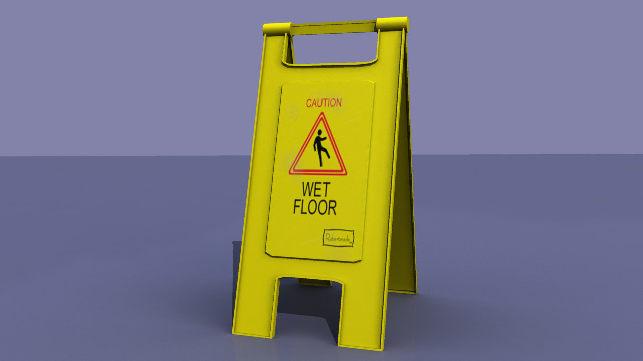 3d wet floor sign