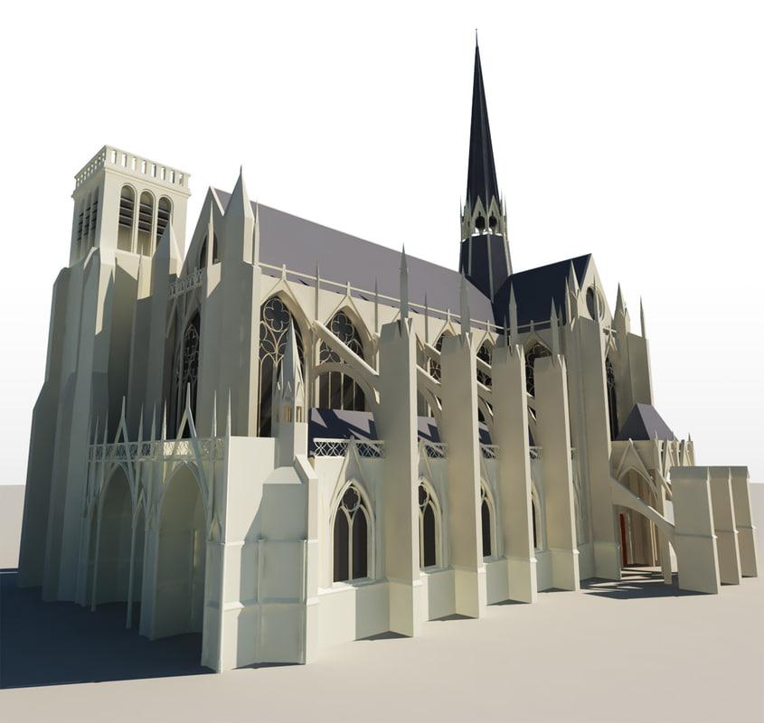 gothic church 3d c4d