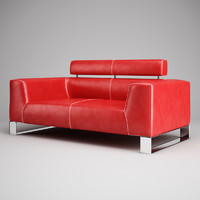 3ds max red leather sofa 01