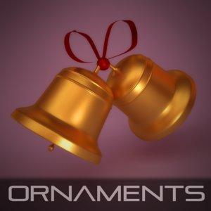 3d bell ornament christmas model