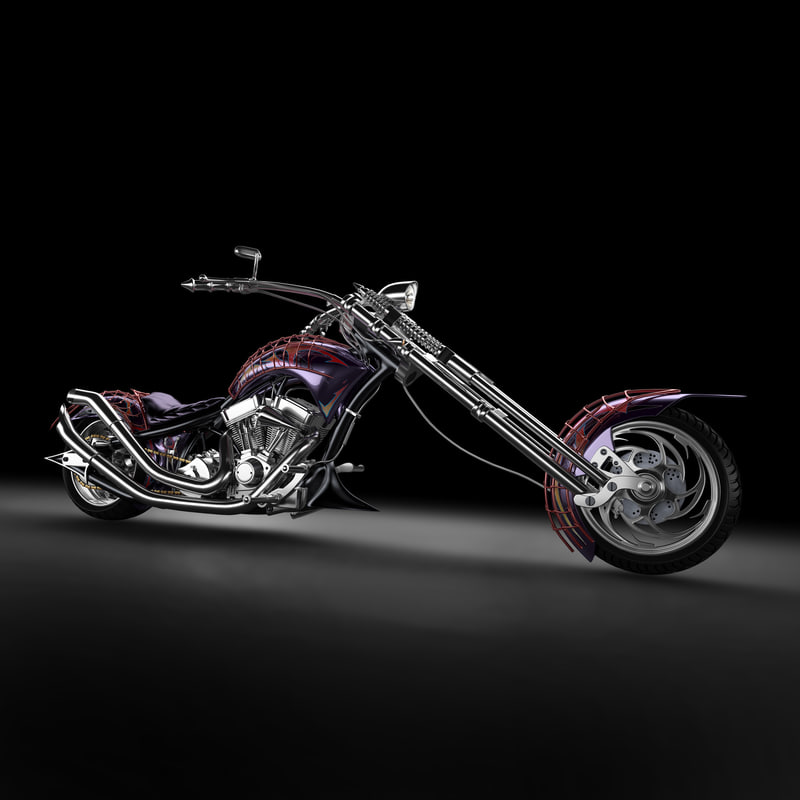 chopper bike 3d model
