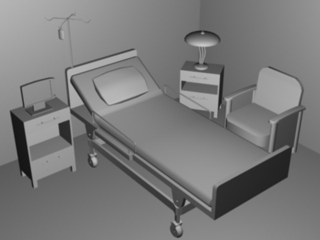 3d hospital scene model