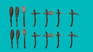 3d stone age tools model