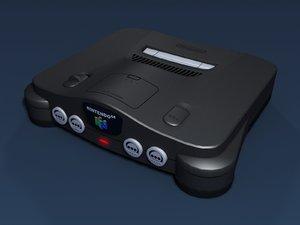 3d nintendo 64 video console model