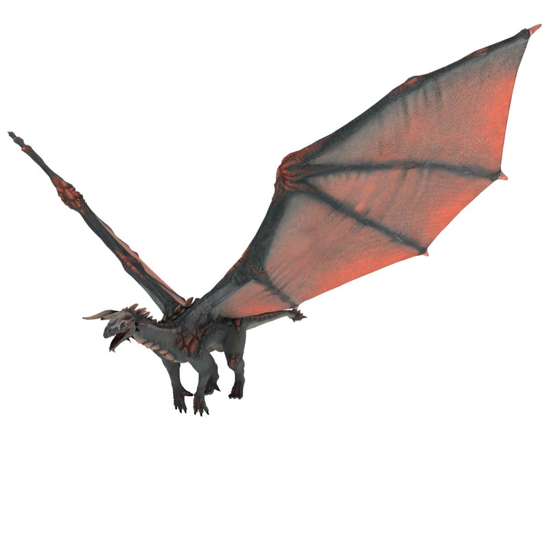3d realistic volcano dragon pose