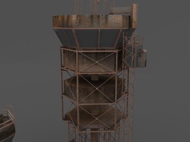 rusty control towers 3d model