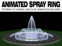 3d model fountain spray ring animation
