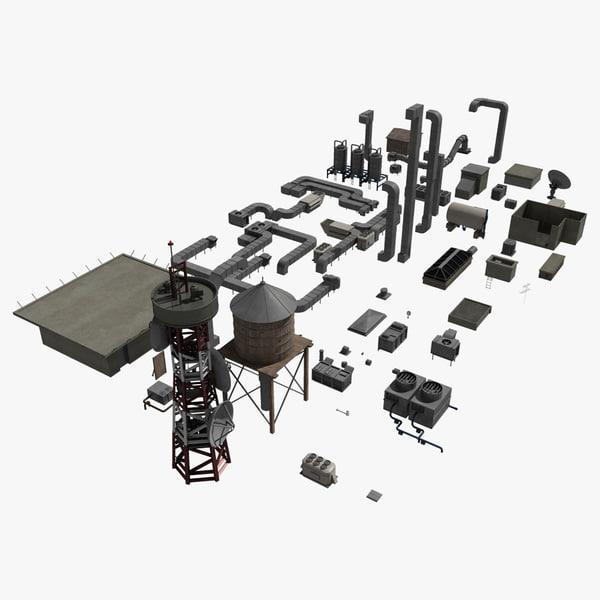 3d roof elements model