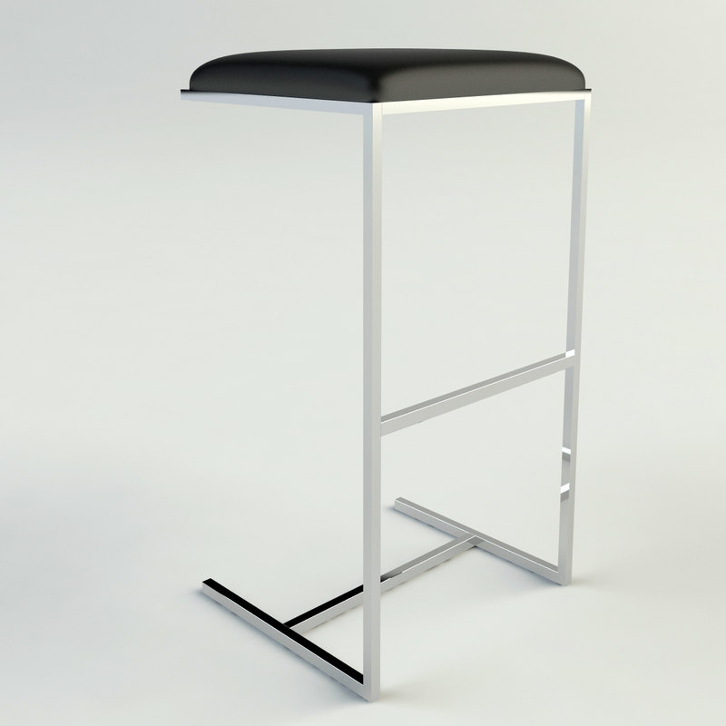 3d model contemporary chrome leather bar stool