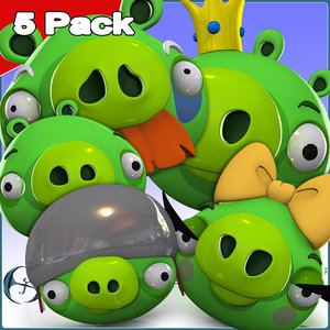 3d angry character 5 pack