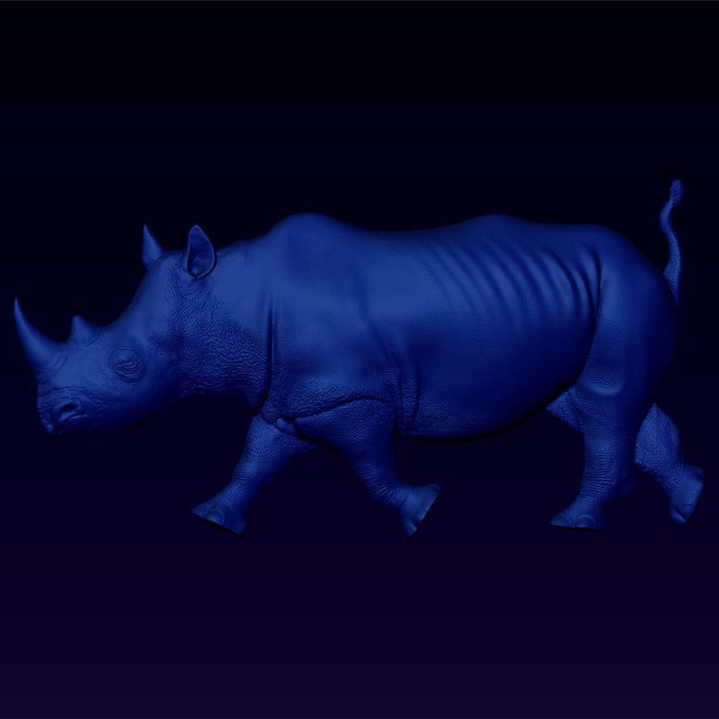 free relief rhino bas 3d model