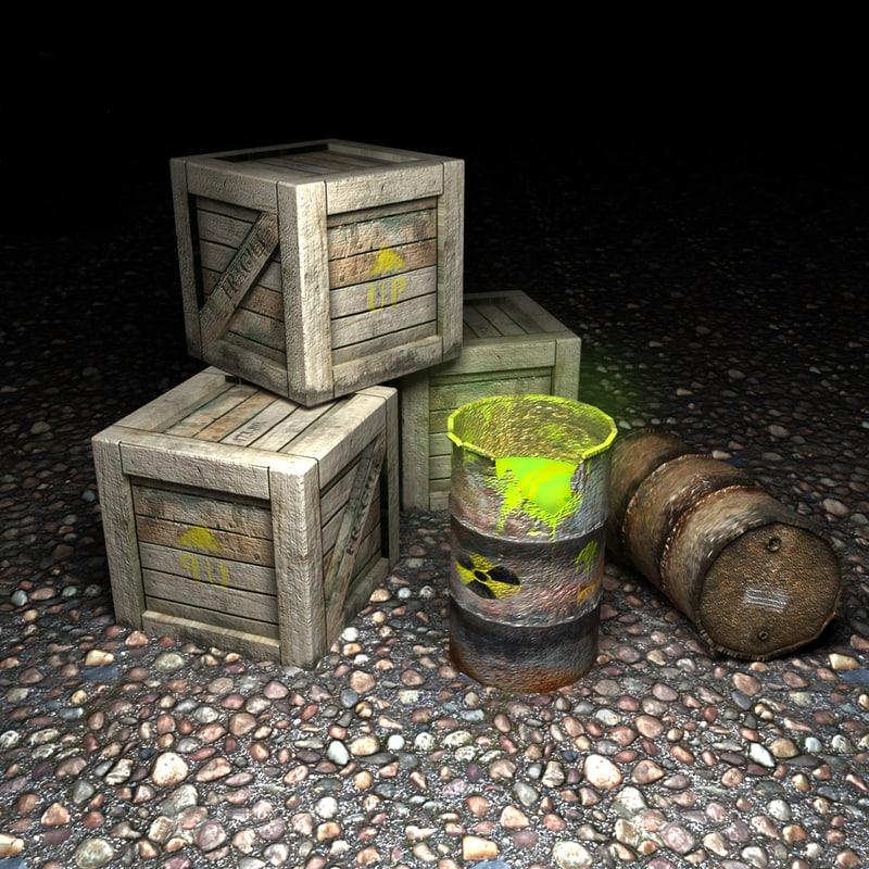 wooden crate barrels 3d max