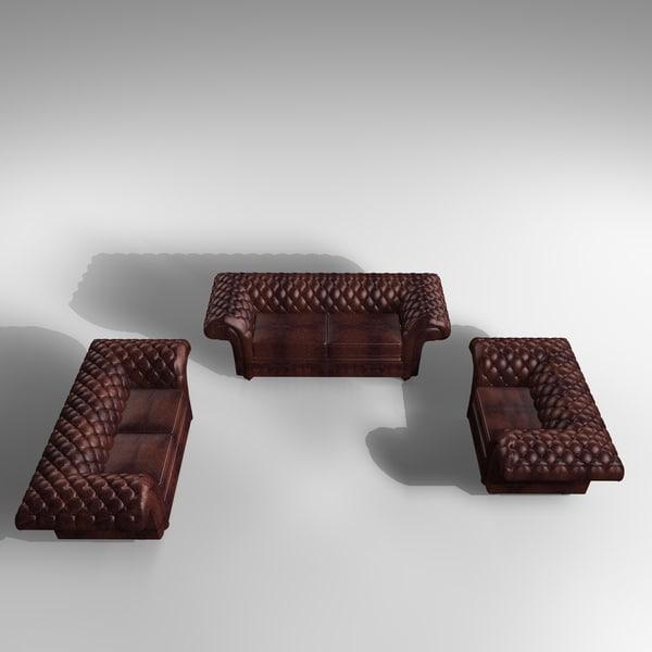 3d model 3 grosvenor leather