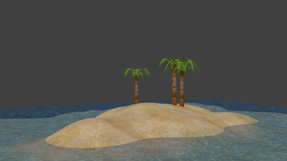 free fbx model island water scenes
