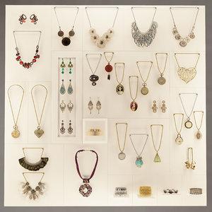 3d vintage jewellery bracelets necklace