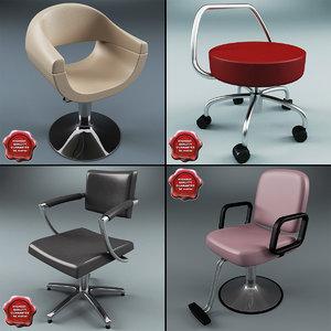 3d model salon chairs