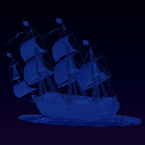 3d 3ds spanish galleon relief bas