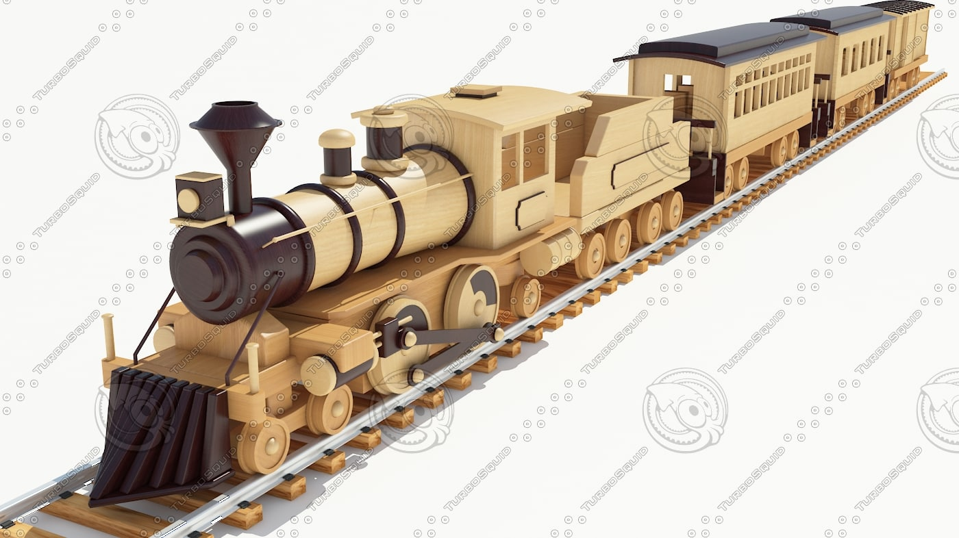 Wooden Toy Trains : D model of wood toy train
