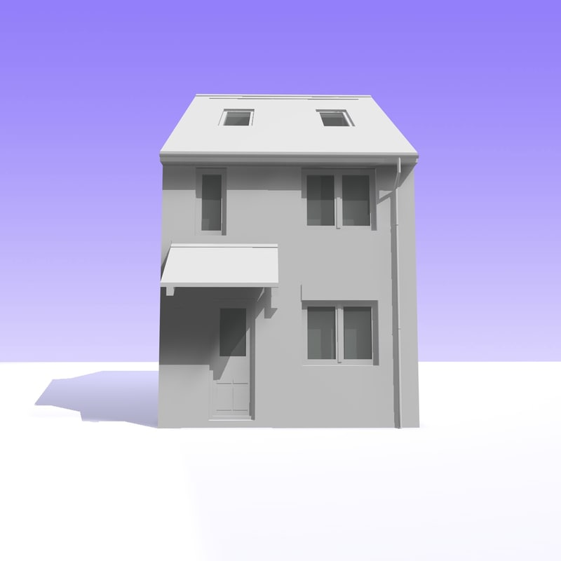 british 2 storey house building 3d model