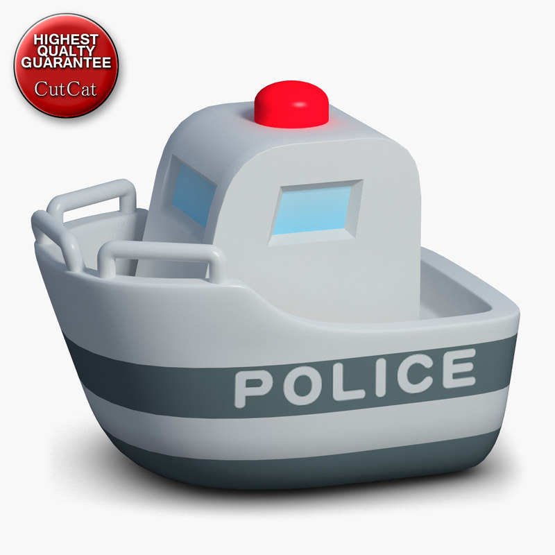 3d construction icons 48 police boat
