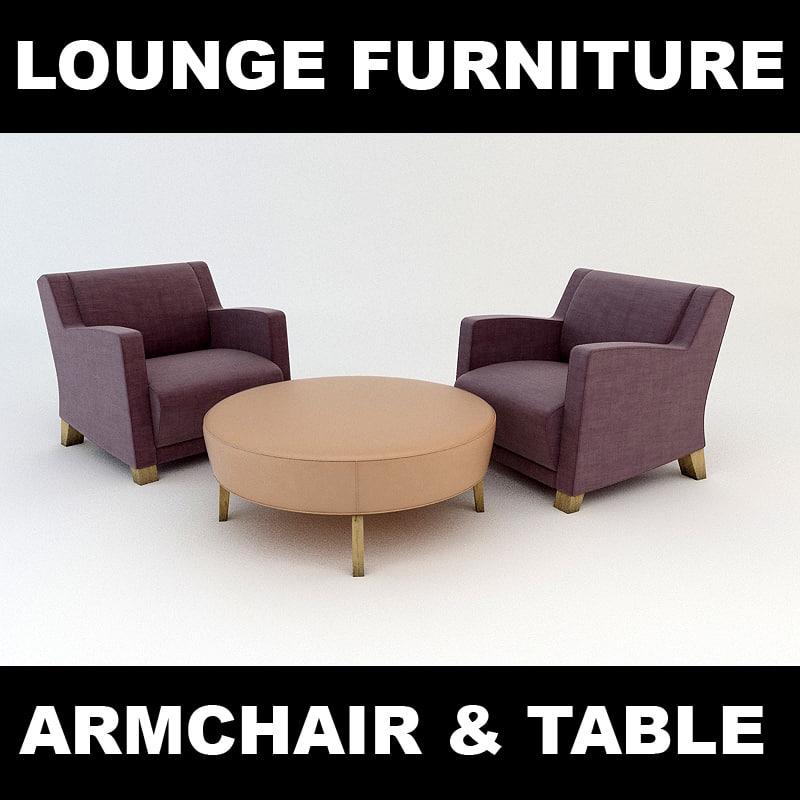 3d armchair leather