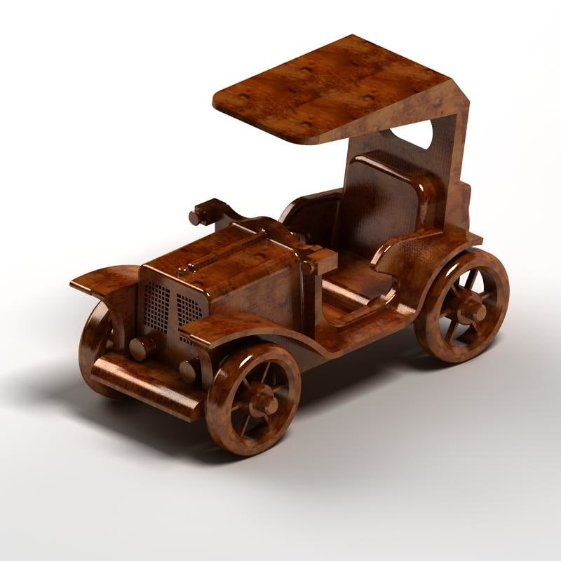 toys wood old car 3d model