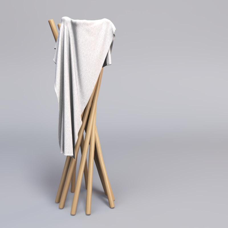 modern towel rack 3d model