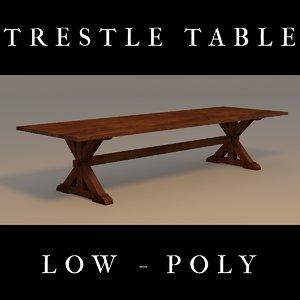 x trestle table 3d blend