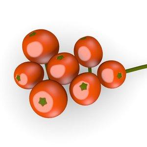 3d model rowan berries