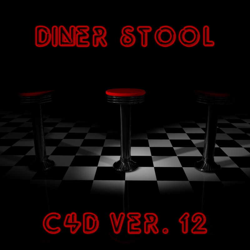 cinema4d 1950s diner stool